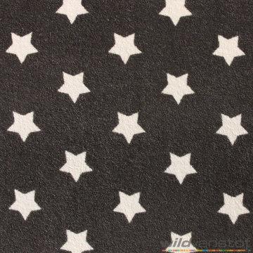 Badstof stretch - Witte sterren op grijs