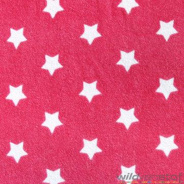 Badstof stretch - Witte sterren op roze