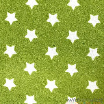 Badstof stretch - Witte sterren op grasgroen