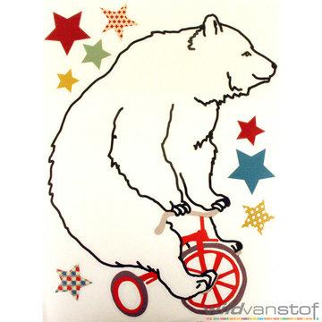 Muursticker beer op fiets