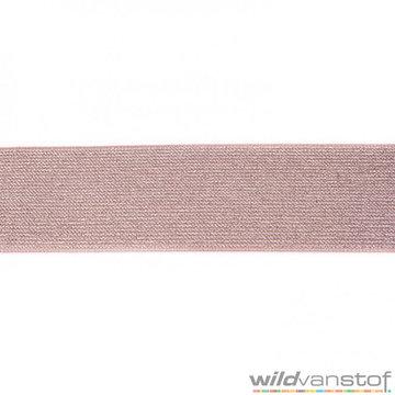 Glitter elastiek 5 cm - taupe