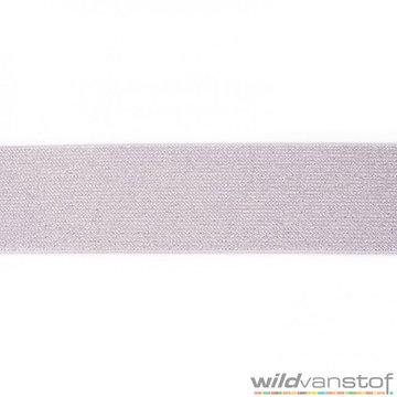 Glitter elastiek 5 cm - grijs