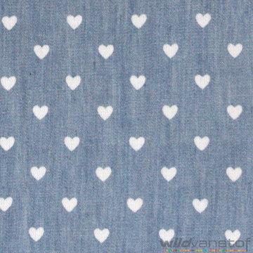 Lichte jeans met witte hartjes