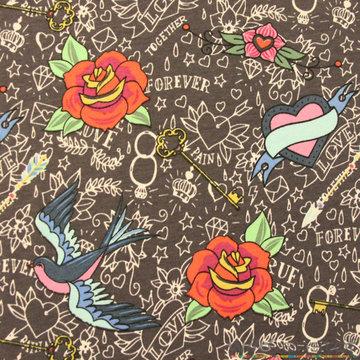 Vogels en rozen op grijs