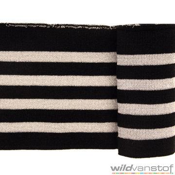 Glitter boord strepen - Zwart en zilver