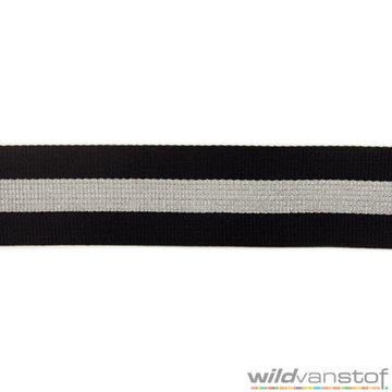 Tassenband zilver-zwarte strepen
