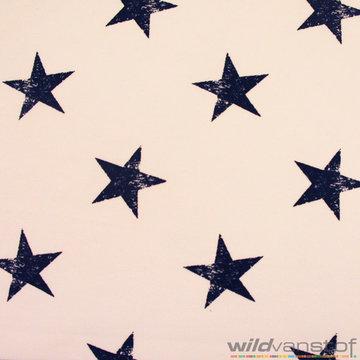 Donkerblauwe sterren op wit