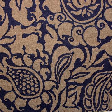 Grote bloemenprint blauw-bruin