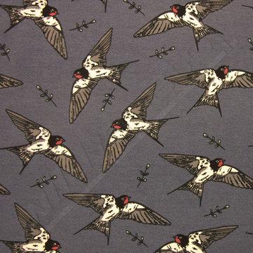 Lichte sweater vogels op blauw