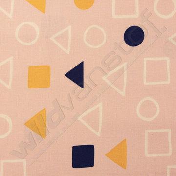 Vierkant, cirkel, driehoek op roze