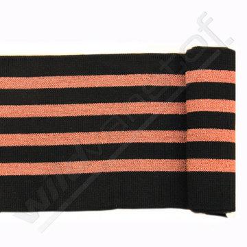 Glitter boord strepen - Zwart en brons
