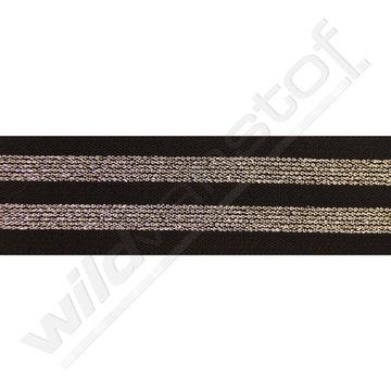 Elastiek strepen zwart-zilver