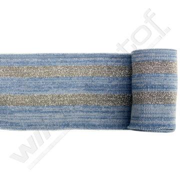 Glitter boord strepen - Jeans mêlée en zilver