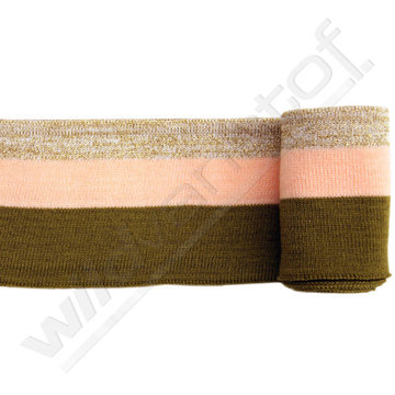 Glitter boord strepen - kakigroen, roze en goud