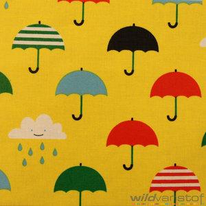 Gelamineerd paraplu op geel wild van stof stoffenwebshop grootste aanbod in leuke stoffen - Paraplu katoen ...