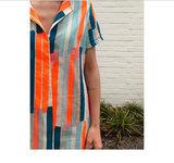 Tetradoek - Kwast lijnen oranje-blauw_