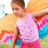 Jersey - kleurrijke vogeltjes op lichtroze_