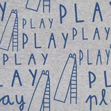 French terry - Blauwe play tekst op grijs_