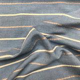 Katoen - Blauw met lijnen en lurex_