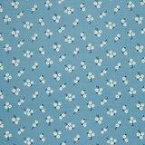 Ribfluweel - Bloempje lurex op blauw_