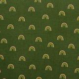 Ribfluweel - Regenboog op legergroen_