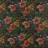 Imiatieleder - Digitale tropische bloemen_