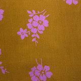 Fluweel - Babyrib oker met roze bloem LMV_