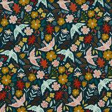Ribfluweel - Vogels en bloemen op petrolblauw_