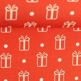 Katoen - kerstgeschenk met dot op rood_