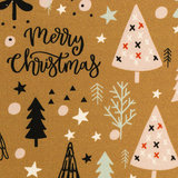 Katoen - Versierde kerstbomen op oker_