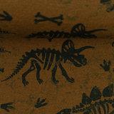 Sweater - Dinoskelet met bones op mokkabruin_