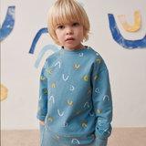 Sweater - Blauw met gele boogjes_
