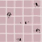 Katoen - Verstopte hond in roze raster_