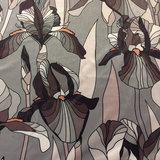 Velvet - Grote bloemen op grijs_