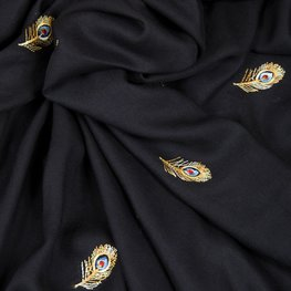 Viscose - Zwarte geborduurde veren