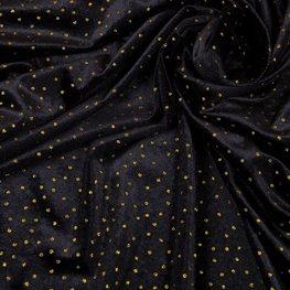 Fluweel - Zwart met gouden dotje
