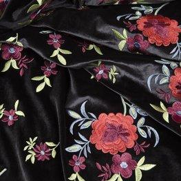 Fluweel - Zwart met barok bloemenpalet