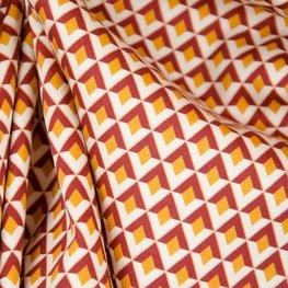 Katoen - Geometrisch roest en oker patroon