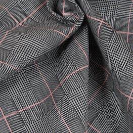 katoen - ruit de coq met rood lijntje