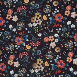 Viscose - Zwart met barokbloemen