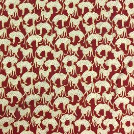 Viscose - Luipaard op bordeaux lmv