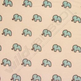 Flanel - Kleine olifantjes blauw