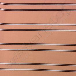 Viscose - Strepen zwart-wit op roze