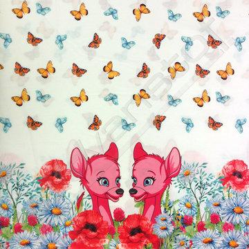 Katoen - Roze bambi tussen de vlinders