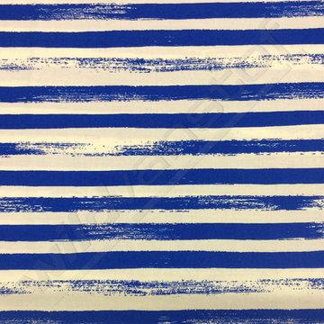 Katoen - Kwast strepen Koningsblauw-wit