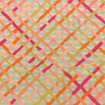 Katoen - Kruisstreep roze-oranje