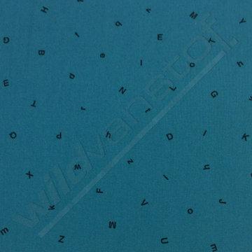 Katoen - Zwarte letters op petrolblauw