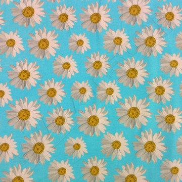 Tricot paneel - Zonnebloemen op blauw