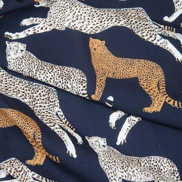 Viscose - Zwart met stoere luipaarden
