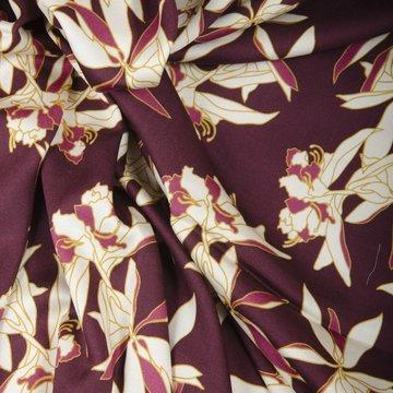 Viscose - Bordeau met cremekleurige bloemen